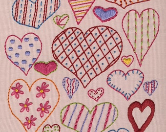 Hearts Sampler PDF embroidery pattern
