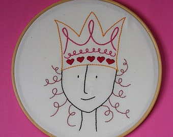 Queen of Hearts - embroidery pattern PDF