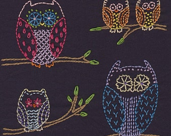Night Owls Embroidery Pattern PDF