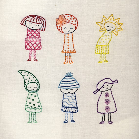 Rainbow Girls embroidery pattern PDF