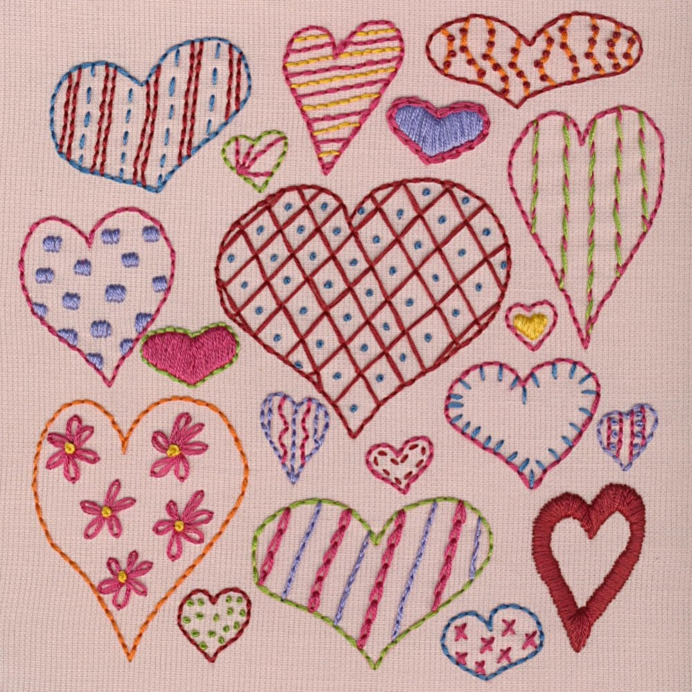 Hearts sampler pdf embroidery pattern by shinyhappyworld