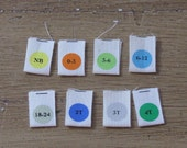 Set of 10 - 6 to 12 months - Micro Organic Cotton Printed Size Labels