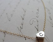Tiny silver initial heart charm on gold necklace  - heart initial - any letter
