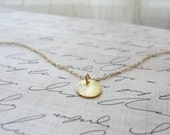 Small gold disk necklace - gold vermeil tiny disk necklace