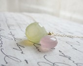 Lavender and green chalcedony necklace - pink and green necklace