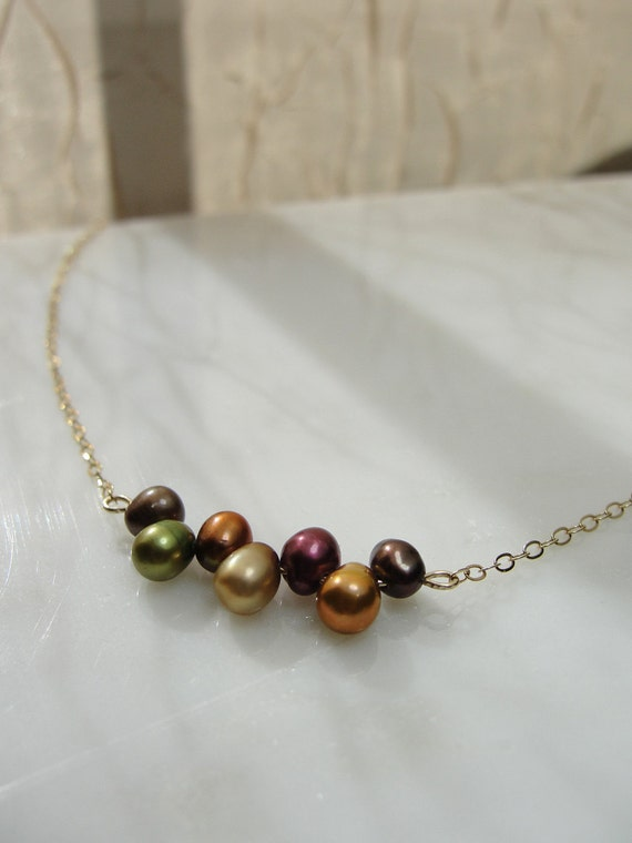Autumn pearl necklace - gold necklace - petite pearl jewelry