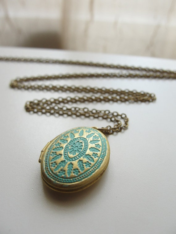 Brass patina locket on long chain- handmade silver and gold jewelry