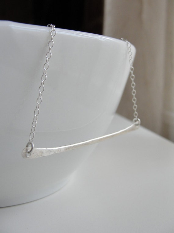 Silver Bar Necklace - Hammered sterling silver - 1123