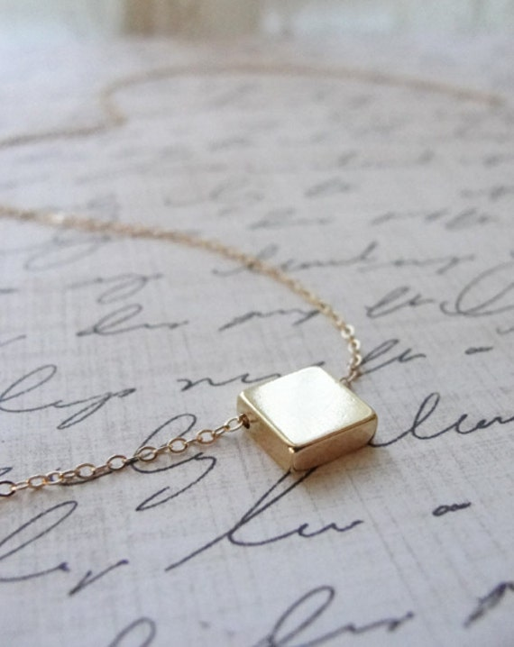 Gold block necklace - gold square - square gold necklace