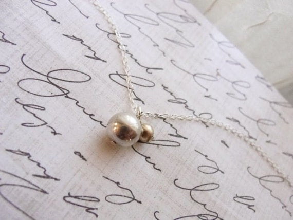 Gold and silver necklace - silver and gold double ball - simple everyday jewelry
