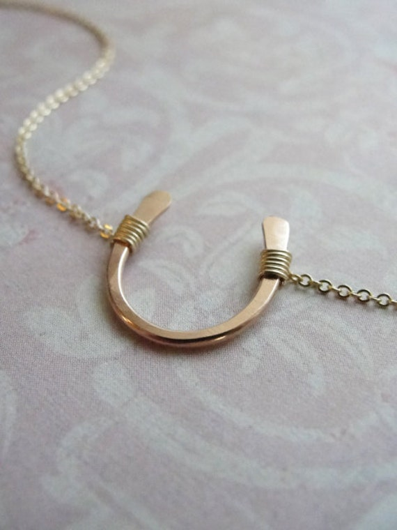 Lucky rose gold horseshoe necklace - petite gold horseshoe necklace