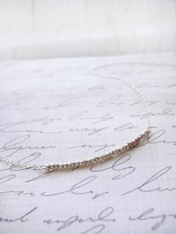 Silver and rose gold necklace - tiny silver beaded necklace - simple rose gold and silver necklace