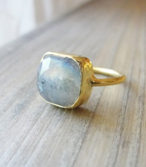 Cushion cut labradorite ring - labradorite gold ring - simple, petite gold gemstone ring - Mothers Day Sale