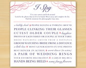 Customized, I Spy Wedding Photo Game, Choose your Design and Colors