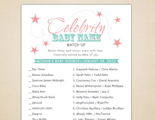 baby shower - name the celebrity baby game (free download ...