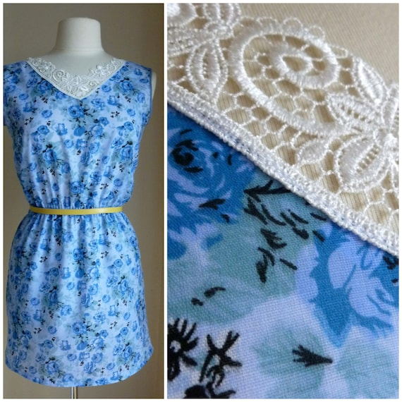 SALE Blue Rose Teadress, Forties Inspired sundress. Handmade cotton day dress Lace Crochette collar. XS,S,M,L