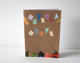 Happy Birthday In Welsh Birds Eco Friendly Art Greeting Card