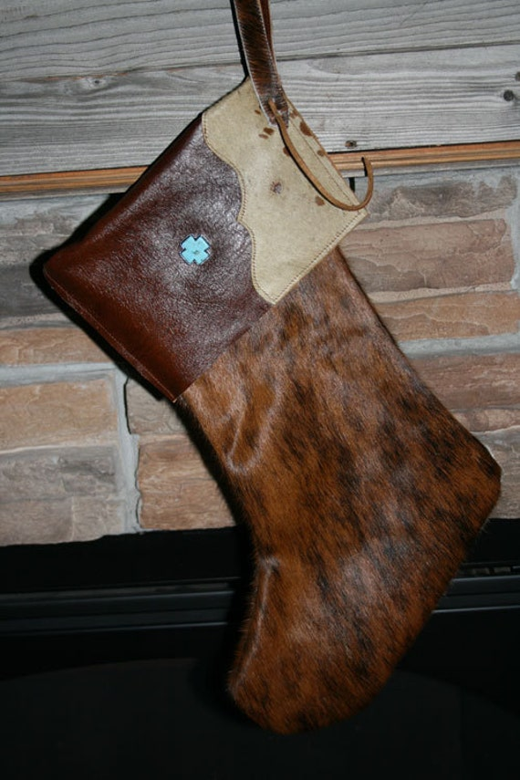 Cowhide Leather Christmas Stocking With Brindle Cowhide And