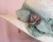 Romantic summer straw hat for garden party