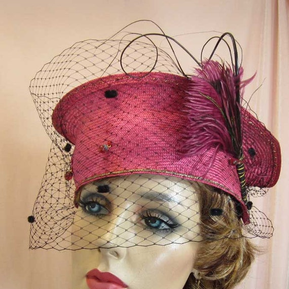 Red Crown or Bright Pink straw hat for runway or cocktail party
