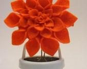 Orange Hand-made Felt Dahlia Hair Clip
