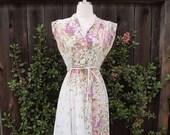 Vintage 70s Belted Sheer Floral Dress