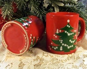 Vintage Waechtersbach Coffee Mugs - Christmas Tree RED