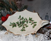 Vintage Lenox Christmas Candy Dish with Handle, Holly Leaf