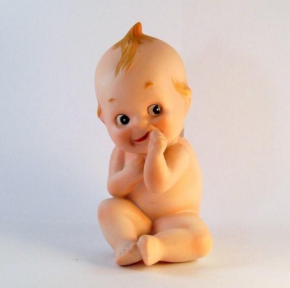 Vintage Kewpie Bisque Figurine - KW228 Sitting with Thumb