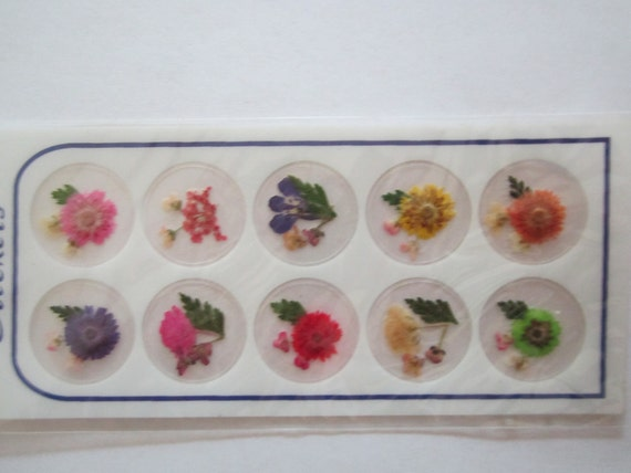 Mini dried flowers 10 stickers. Pressed mini bouquets.