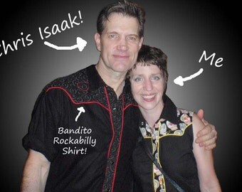 Men's Dress Shirt, Rockabilly Western- Gothic Black with Red Hearts- Chris Isaak loves his- Sizes Small-6XL, Big and Tall