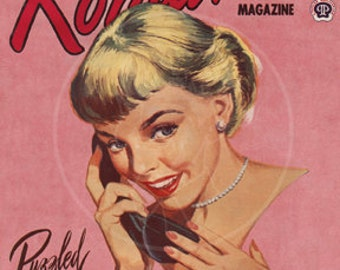 Romance (Feb 1954) - 10x13 Giclée Canvas Print of a Vintage Pulp Romance Magazine Cover