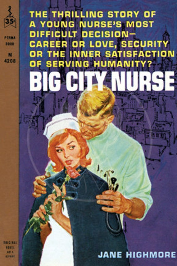 Big City Nurse - 10x15 Giclée Canvas Print of Vintage Pulp Paperback