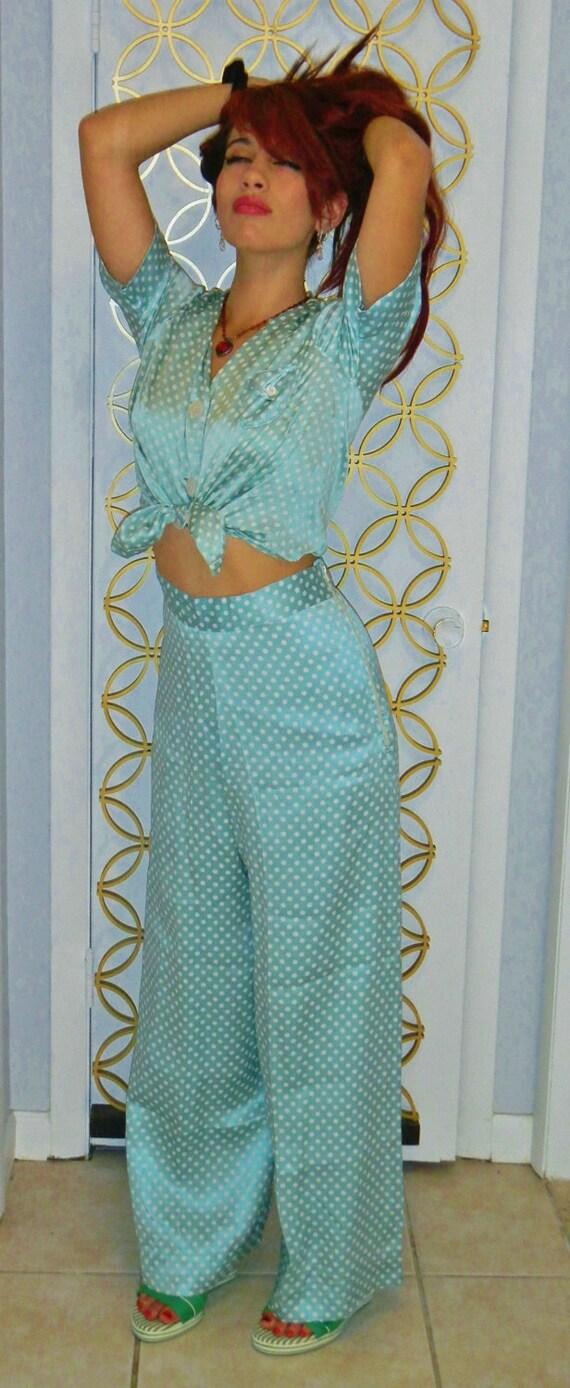 "RESERVED-Vintage 1940s Silk Pajamas-Aqua & White Polka-Dots-""Tailored by Yolande"""