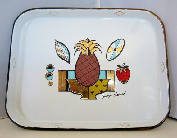 """Vintage 1950s Georges Briard AMBROSIA Pineapple Enamelware Tray-11"""" x 9""""-Eames Era"""