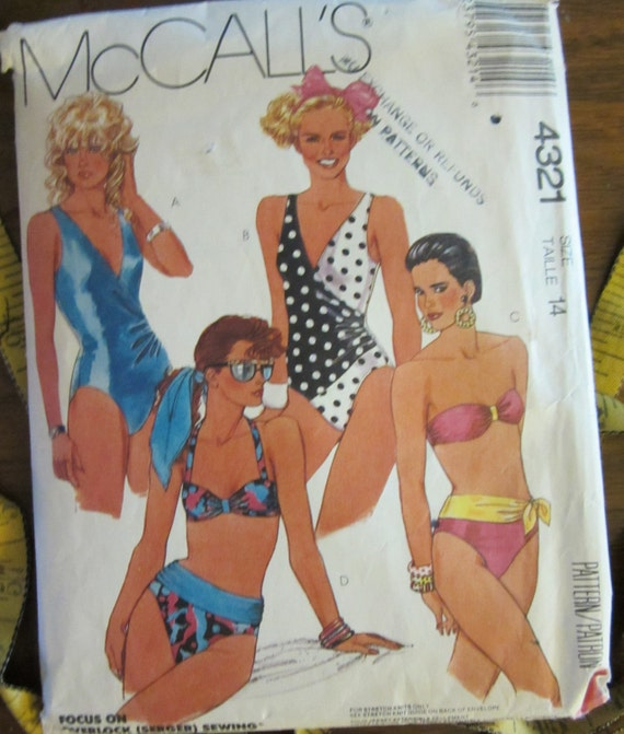 "Vintage 1989 Swimsuits Pattern McCalls 4321-1 & 2 Piece Variations-Flattering Classics-36"" bust"