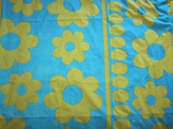 Vintage Flower Power Sheets or Fabric-Twin Flat and Fitted Sheet-Aqua & Lime Green-1960s-1970s-Cannon