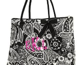 Personalized Tote Bag Quilted Black and White Paisley - monogrammed free
