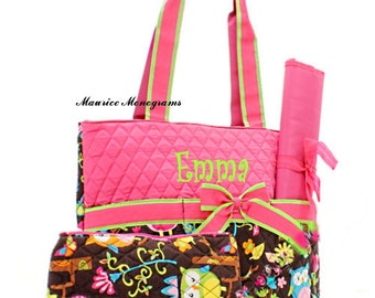 Personalized Owl Print Diaper Bag Set - Monogrammed FREE Hot Pink and Brown Print