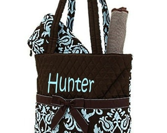 Personalized Diaper Bag - Blue and Brown boy or Girl