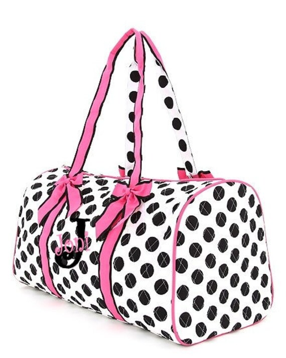 Personalized Duffle Bag - Large Polka Dot Duffle Bag or Overnight Bag