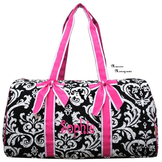 Personalized Quilted Large Damask Duffel Bag Gym Dance or Overnight Hot Pink Trim