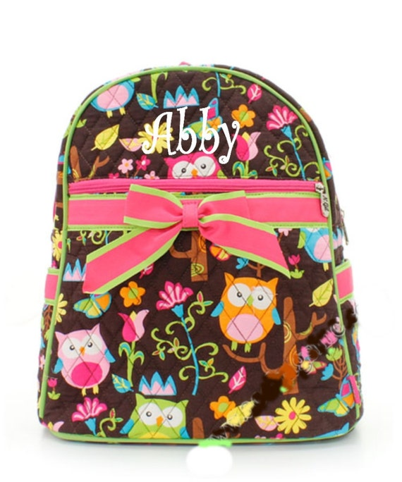 Personalized Girls Owl Print Quilted Backpack by MauriceMonograms