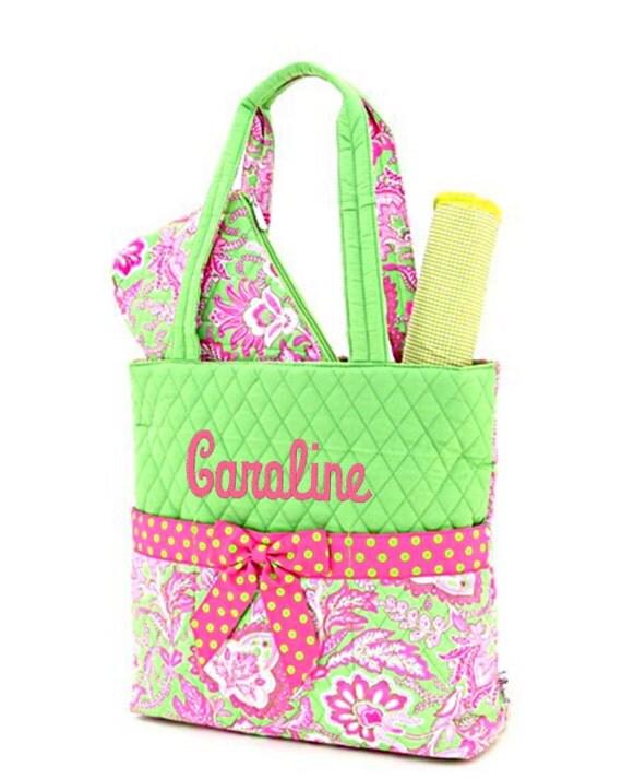 Personalized  Diaper Bag Set Floral Pink & Green Monogrammed
