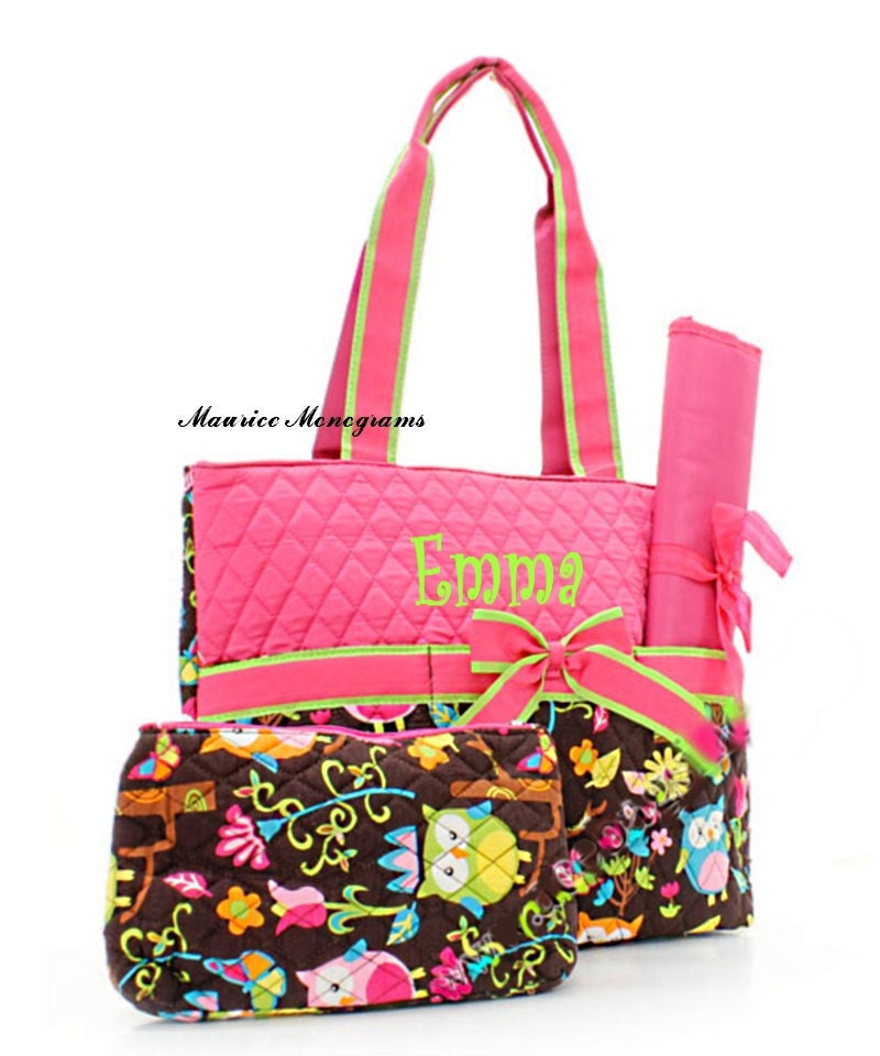 personalized owl print diaper bag set monogrammed free hot