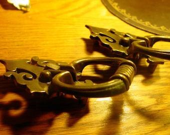 Vintage Ornate Trunk Hardware, Brass Trunk Handles, Old World Draw Pulls, Trumk Holders