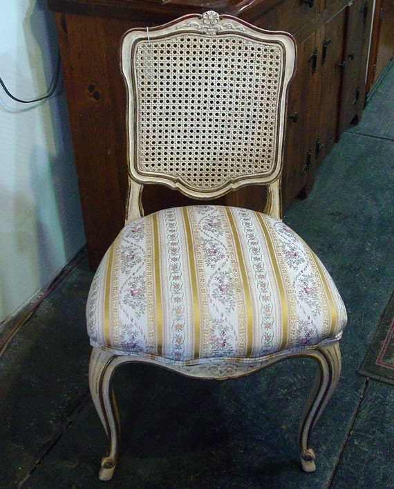 Retro French Provencial Side Chair with Newly Upholstered seat