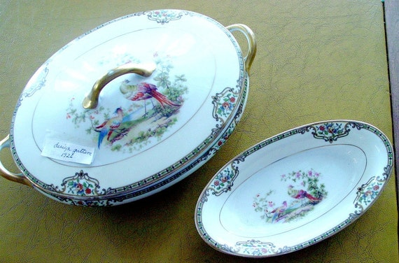 Reserved for  THOMAS   Vintage Noritake Covered Serving Bowl with Finger Bowl 1926