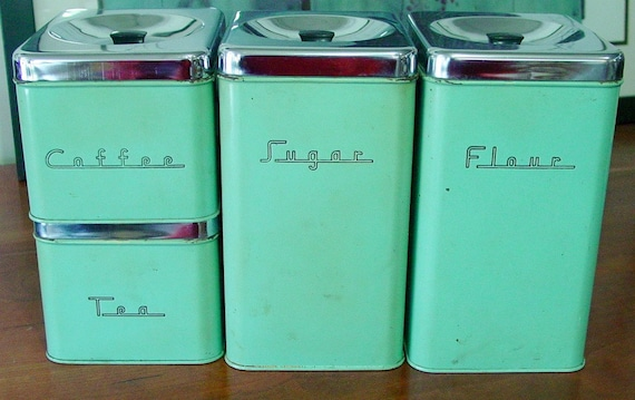 Retro Mid Century Canister Set 4 Pieces Green with Chrome Lids  1950s
