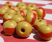 Handmade Red Striped Beads